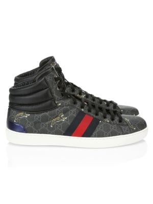 Gucci - Ace Tiger Print High-Top Sneakers - saks.c