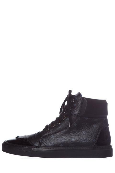 MCM Black Leather High-Top Sneakers SZ