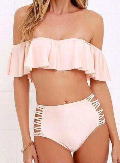 2 Piece Ruffle Top High Waist Bikini Set - STYLESIMO.c