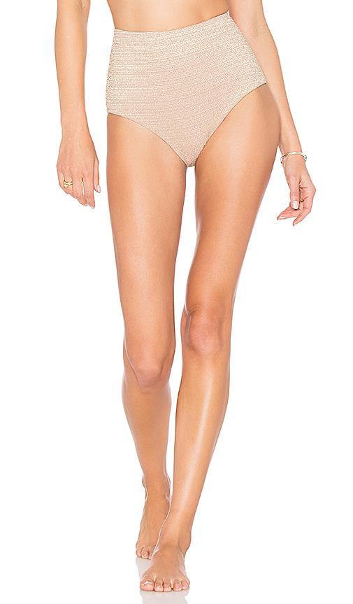 Zimmermann High Waisted Bikini in Metallic Nude | REVOL