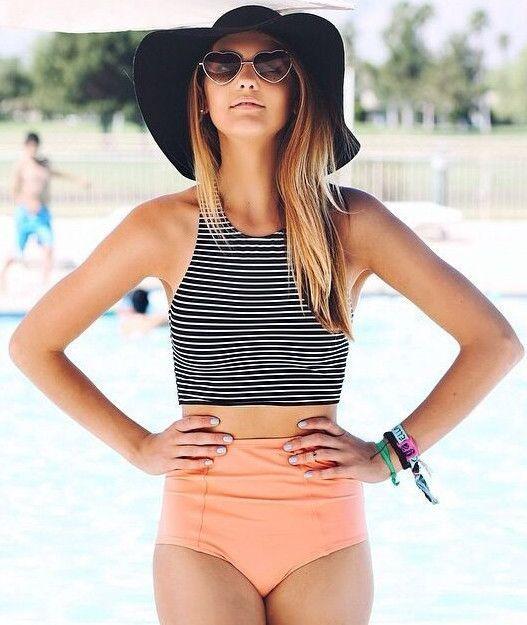 Striped Printed Top High Waisted Bikini | Striped swimsuit .