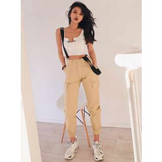 Colada High-Waist Crop Jogger Pants with Suspender | YesSty