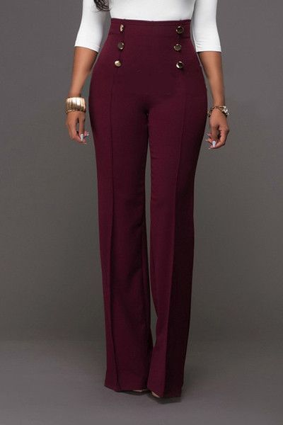Trendy High Waist Double-breasted Decorative Wine Red Polyester .