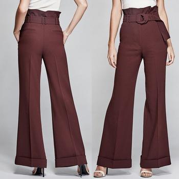 Fluid Material Women Elegant High Waist Pants With Wide Bottom .