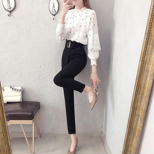 Dotted Long-Sleeve Blouse and High Waist Pants - BestFashionHQ.c