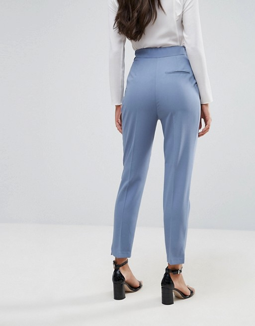 ASOS High Waist Tapered Pants with Elasticated Back | AS