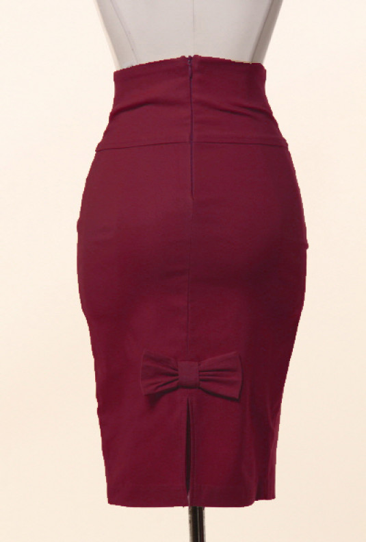 Business Casual Bow Back High Waist Pencil Skirt in Burgundy .