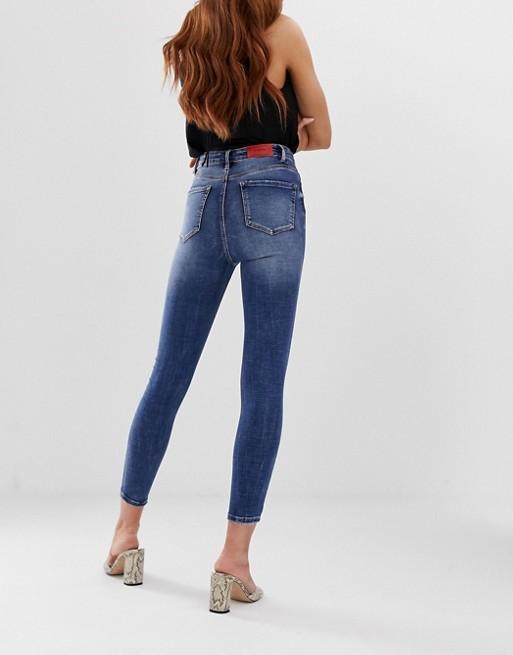 Stradivarius super high waist skinny jean in mid blue | AS