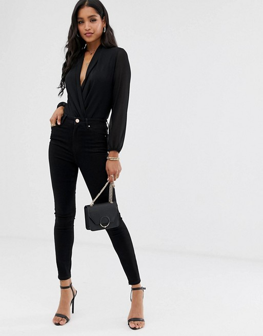 ASOS DESIGN Ridley high waisted skinny jeans in clean black | AS