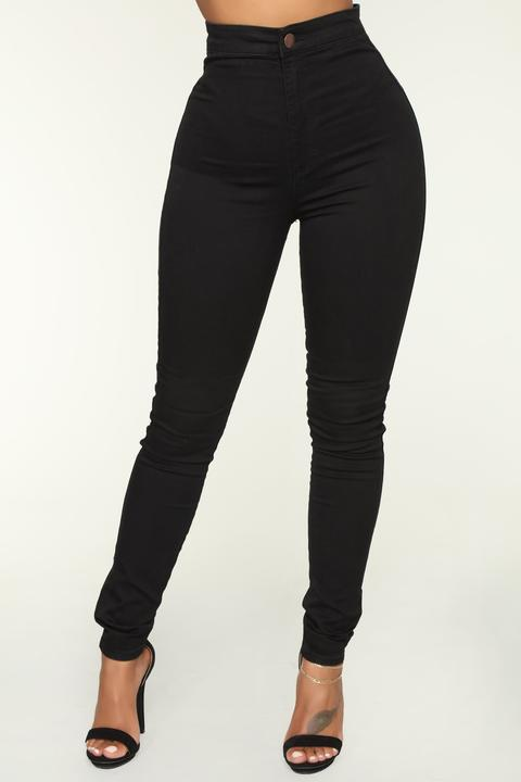 Luxe Ultra High Waist Skinny Jeans - Black from Fashion Nova on .