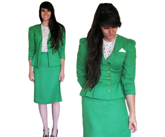 High Waist Skirt Suit Kelly Green 2 Piece 1940's Aline | Et