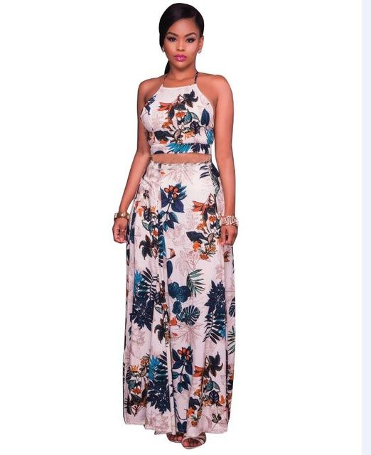 Women Floral Print Maxi Skirt Suit Summer Cross Back Crop Top And .