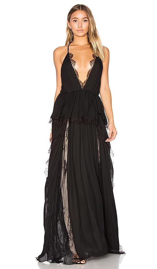 Haute Hippie Waterfall Gown in Black   REVOL