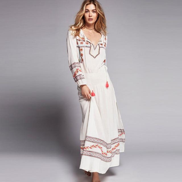 Mystical Maxi Dress V neck Floral Embroidery Hippie Dresses .