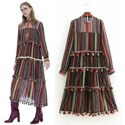 Vintage Women's Boho Colorful stripe ETHNIC MAXI DRESS Chiffon .