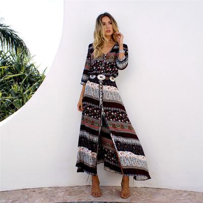 bohemia brand clothing maxi long desses V-neck hippie dresses Boho .