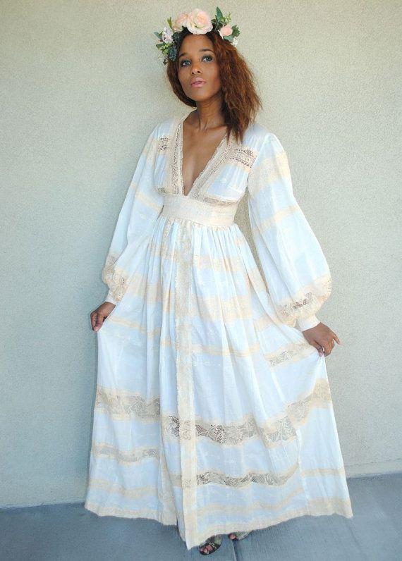 vintage white cotton empire waist maxi dress. hippie by Renov8 .