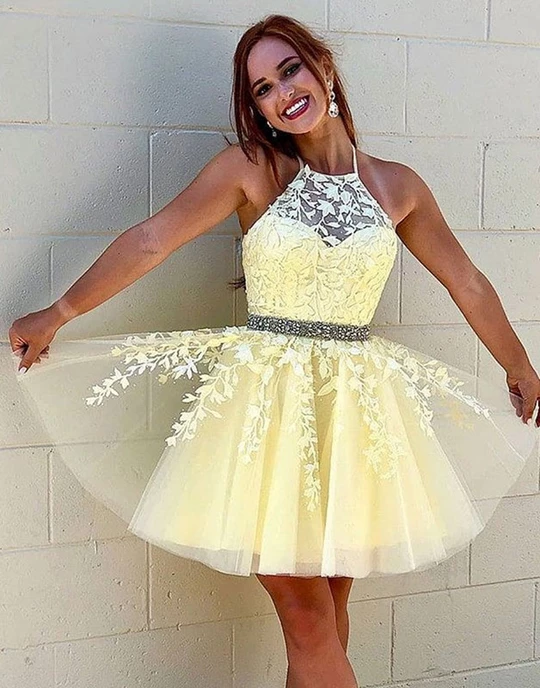 Yellow tulle lace short prom dresses yellow homecoming dresses .
