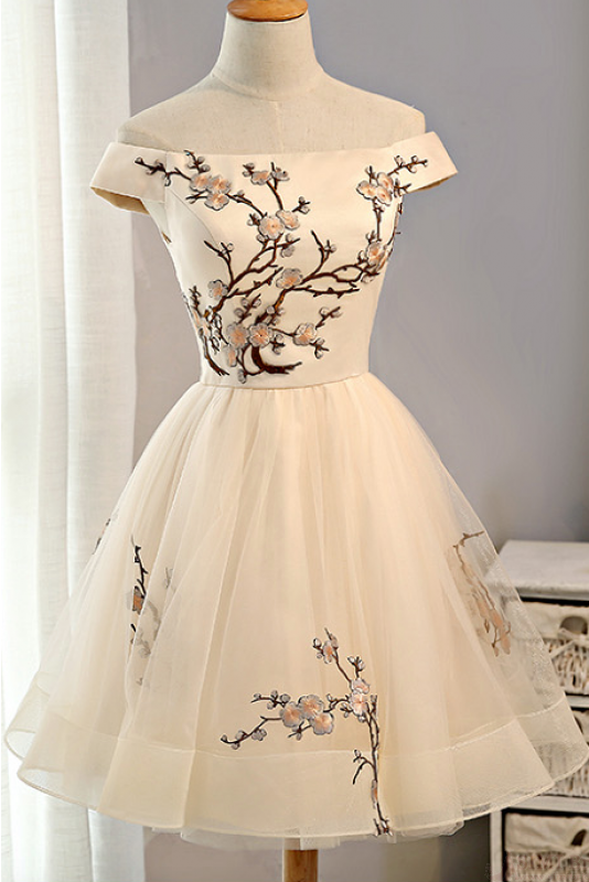 Pink Embroidery Homecoming Dresses,Tulle Short Party Dresses,A .