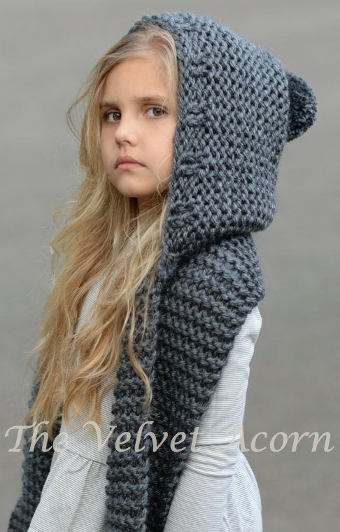 Knitting Pattern for Adult and Child Sized Hooded Scarf - The Tuft .