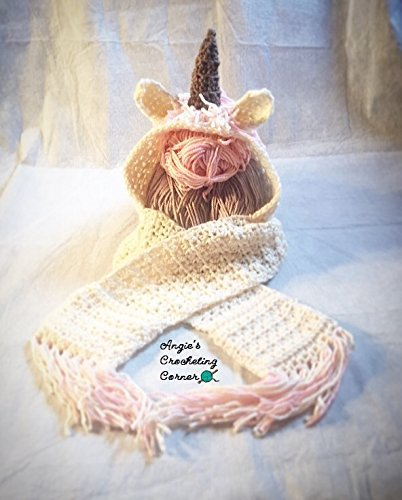 Amazon.com: Unicorn Hooded Scarf, Crochet Unicorn Hooded Scarf .