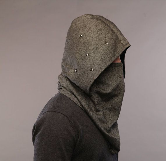 Hooded scarf, Burning man, futuristic clothing, Burning Man .