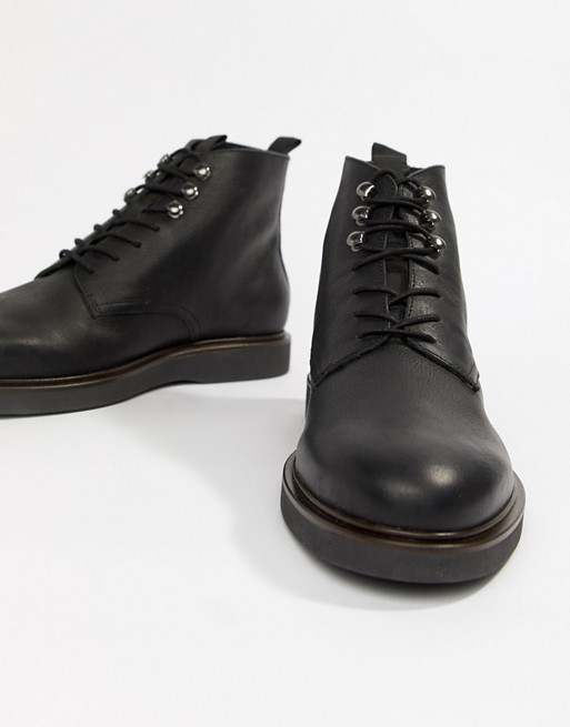 H By Hudson Battle lace up boots in black leather | AS