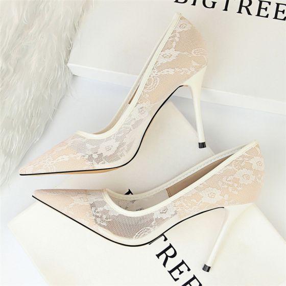 Chic / Beautiful Ivory Wedding Shoes 2018 Lace 10 cm Stiletto .
