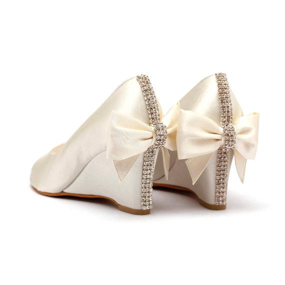 Ivory Rhinestone Wedding Shoes, Ivory White Bridal Wedges, Garden .