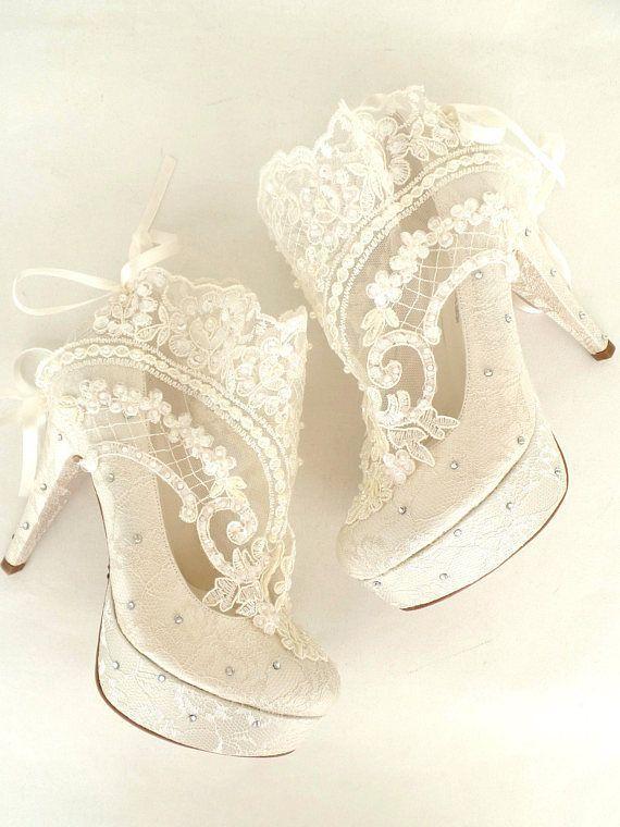 Something Blue Lace Bridal Boots with Rhinestones | Blue bridal .