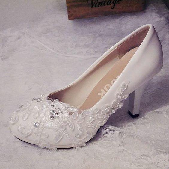 Plus size ivory lace wedding shoes bride handmade fashion ivory .