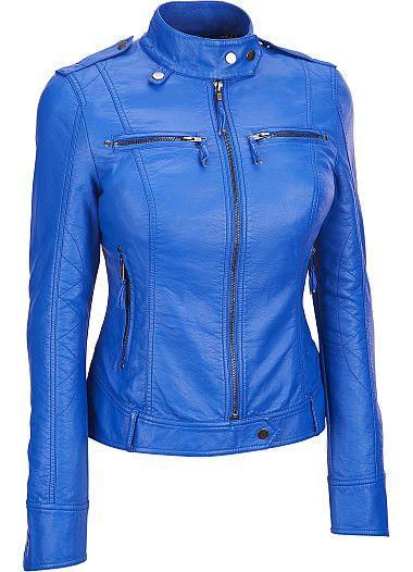 Women blue leather jacket, women biker leather jack | Lambskin .