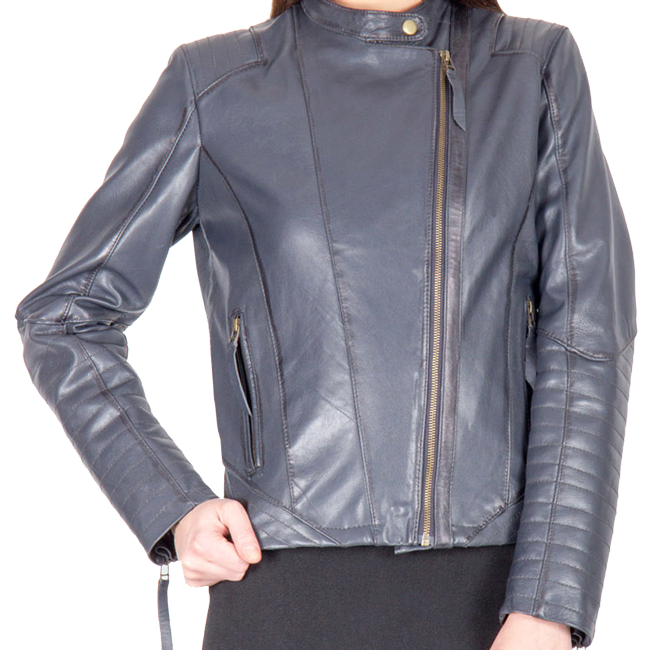 A light blue color fashion leather jacket for women - Leather .