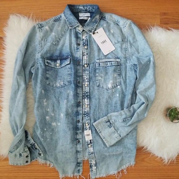1992 Basics Shirts | Distressed Jean Shirt | Poshma