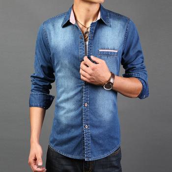 Denim Shirt,Men Denim Shirts,Casual Shirt,Jean Shirt,2016 Top .