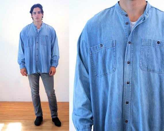 90s Denim Shirt M, Oversized Vintage Turkish Men's Cotton .