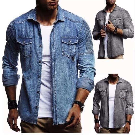 Shop 2018 Men Washed Demin Shirts Long Sleeves Slim Fit Jean .