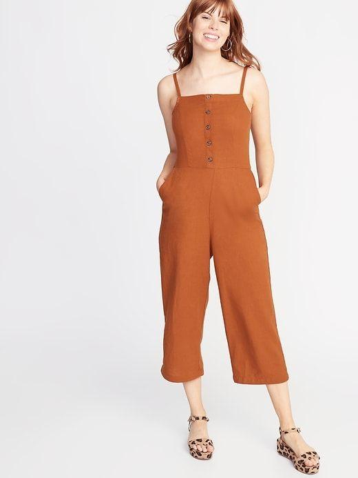 Old Navy Women's Button-Front Linen-Blend Cami Jumpsuit Burnt .