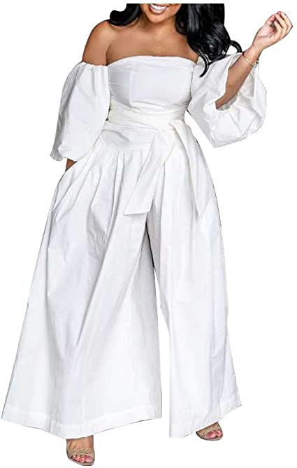 Amazon.com: Off Shoulder Jumpsuits for Women - Sexy Puff Sleeve .