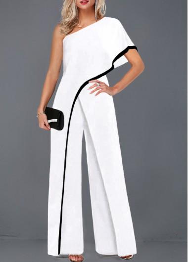 White One Shoulder Contrast Trim Wide Leg Jumpsuit One Sleeve .