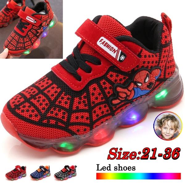 Spiderman Kids Boys Sports Sneakers Children Glowing Kids Shoe .