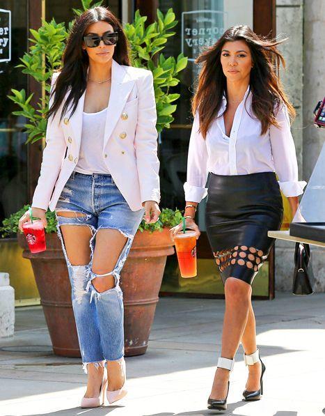 Kim and Kourtney Kardashian street style. | Kardashian style .