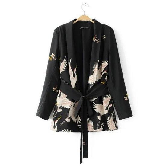 Women Fashion Vintage Retro Loose Animal Crane Print Kimono .