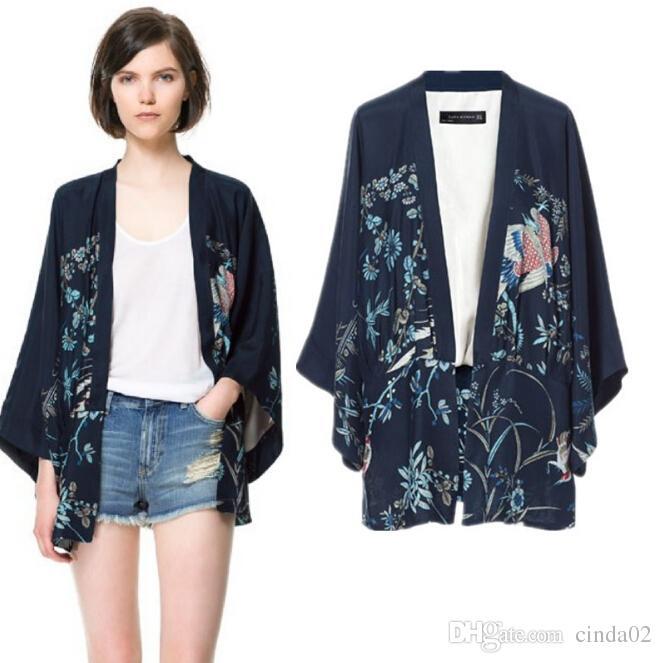 Phoenix Printing Kimono Bat Sleeve Cardigan Lady Kimono Jacket .