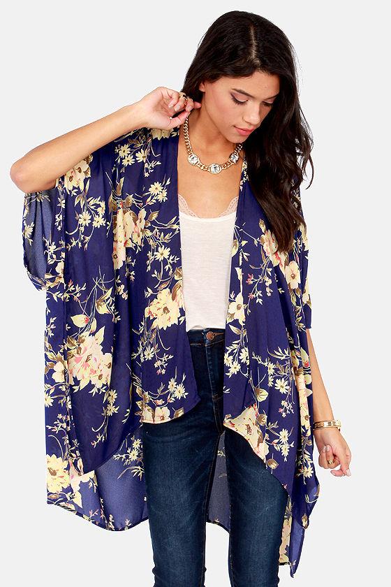 Cute Kimono Jacket - Floral Print Jacket - Floral Print Kimono .
