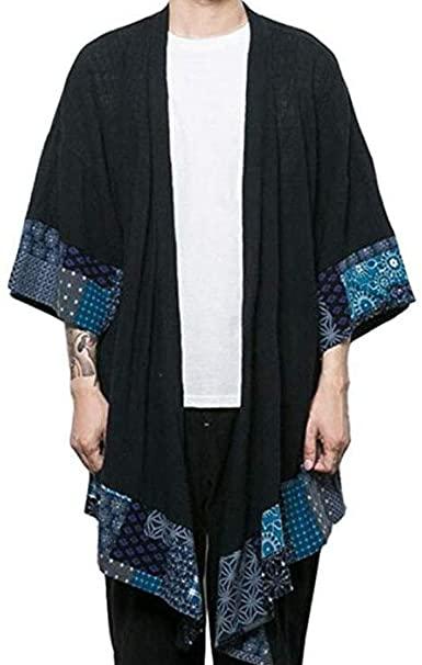 HZCX FASHION Men's Cotton Linen Long Kimono Jackets Open Front .