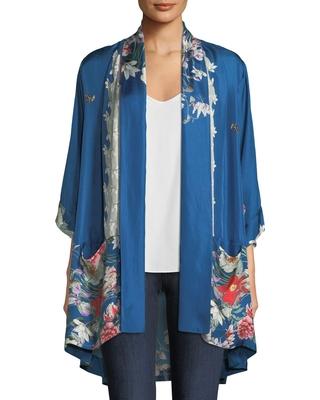Don't Miss These Deals on Samira Long Floral-Print Silk Kimono Jack