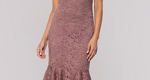 Knee-Length Mauve Wedding-Guest Dress in Glitter La