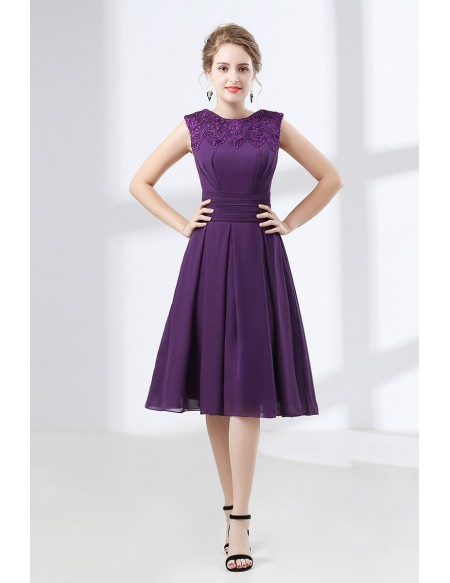 Cheap Purple Knee Length Prom Dress With Modest Lace Neckline .