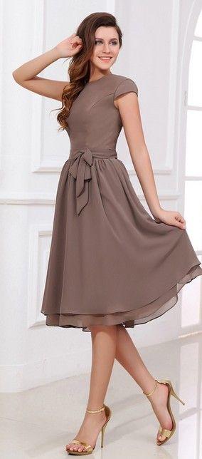 US$ 114.00] Chiffon Knee-length Bridesmaid Dress with Cap Sleeves .